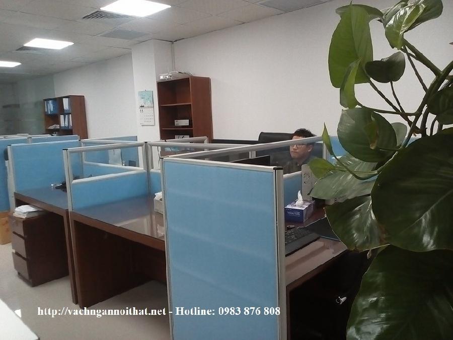 Thi công vách ngăn văn phòng nỉ kính tại Linh Đàm - quận Hoàng Mai
