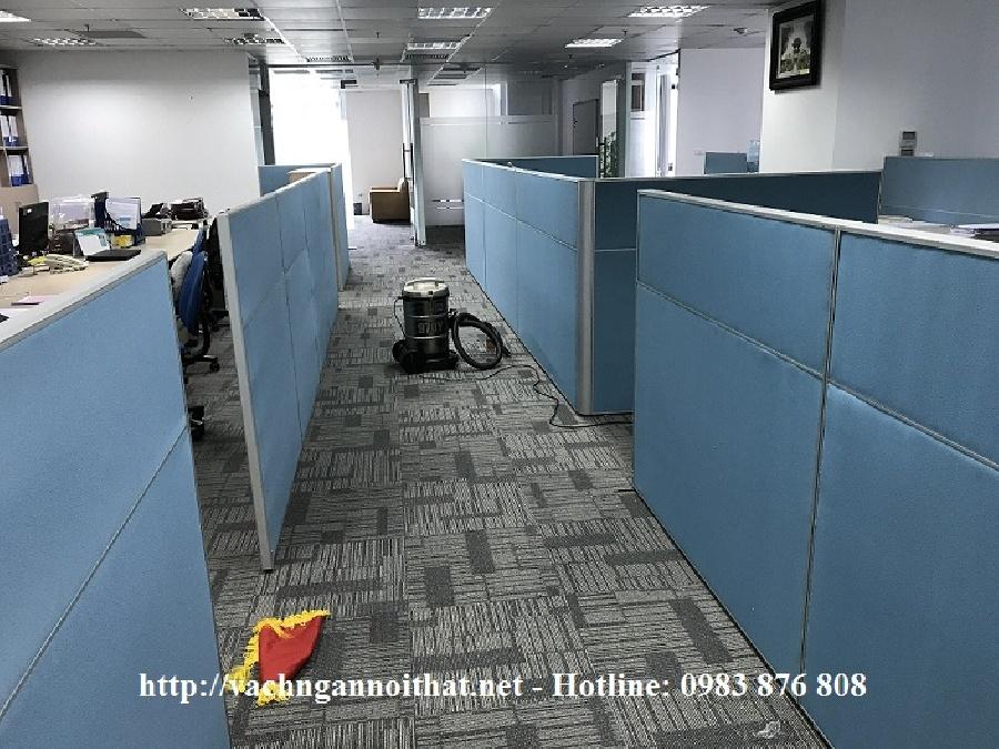 Vách ngăn văn phòng bọc nỉ chia múi có chỉ nhôm - Tố Hữu - Hà Đông
