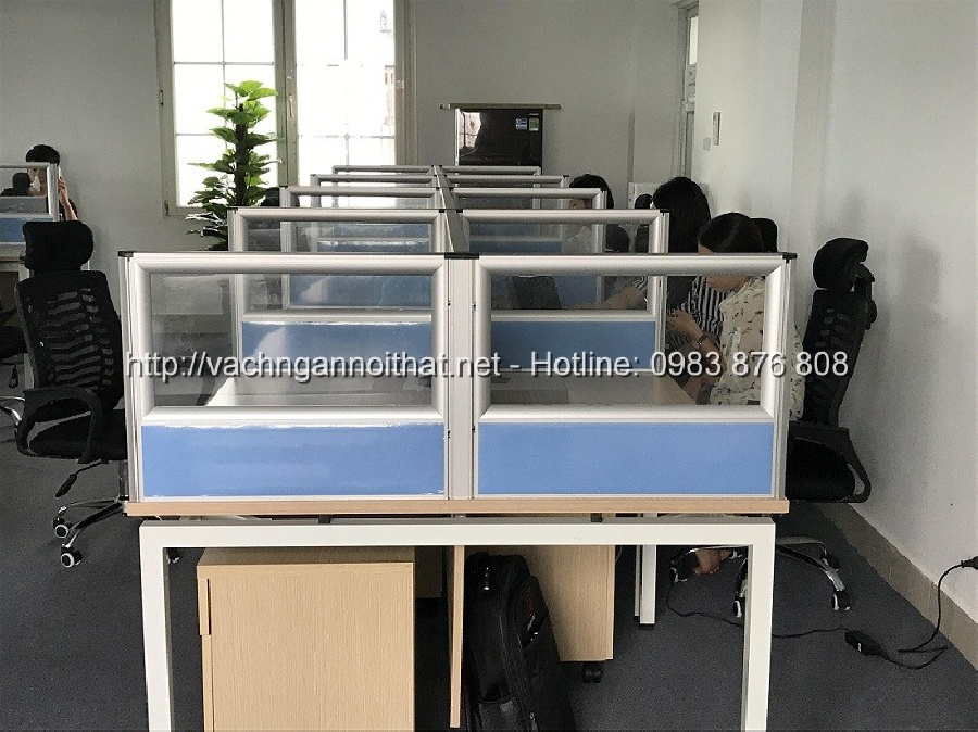 Vách ngăn nỉ kính mặt bàn làm việc nhân viên VNK-MB01
