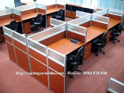 Thi công vách ngăn văn phòng gỗ - gỗ - kính VNGK04