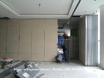 Dự án thi công vách di động gỗ Melamine nhà hàng khách sạn