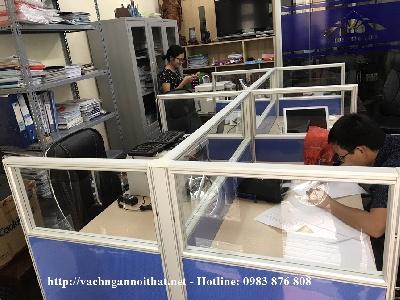 Thi công vách ngăn nỉ kính khu đô thị Văn Quán - Hà Đông